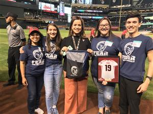 Stuco on field at Diamondbacks game