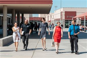 Superintendent Hoffman walks on GRHS campus